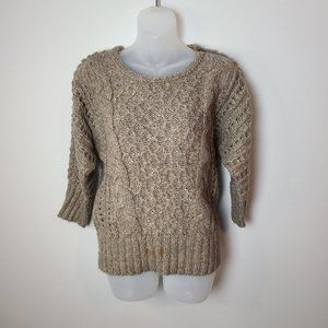 LOFT Cable Knit Sweater 3/4 Sleeves